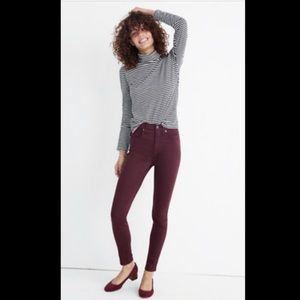 """Madewell 10"""" High Rise Skinny Jeans in berry color"""